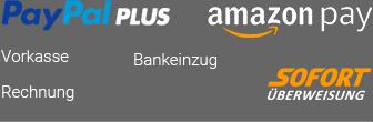 PayPalPlus, amazonPay, Vorkasse, Nachname, Rechnung, Bankeinzug, SofortÜberweisung